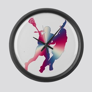 Lacrosse Red White and Blue Large Wall Clock