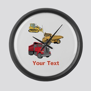 Works Site Vehicles and Text Large Wall Clock
