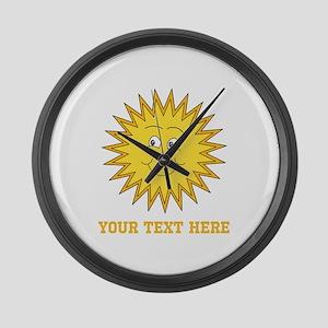 Sun with Custom Text. Large Wall Clock