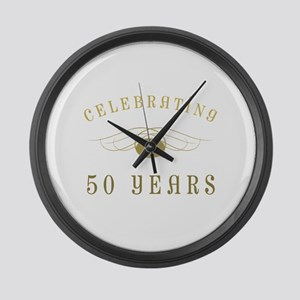 Celebrating 50 Years Of Marriage Large Wall Clock