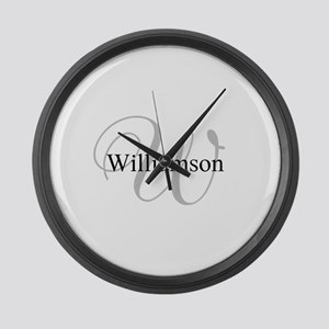 CUSTOM Initial and Name Gray/Blac Large Wall Clock