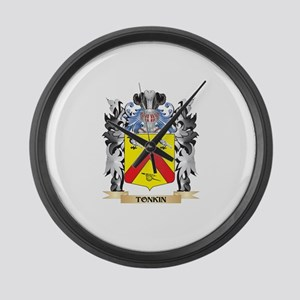 Tonkin Coat of Arms - Family Cres Large Wall Clock