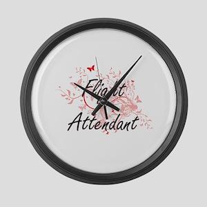 Flight Attendant Artistic Job Des Large Wall Clock
