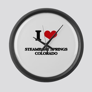 I love Steamboat Springs Colorado Large Wall Clock
