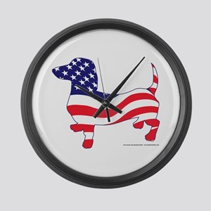 Patriotic Wiener Dachshund Large Wall Clock