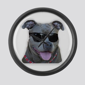 Pitbull in sunglasses Large Wall Clock