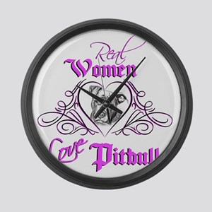 Real Women Love Pitbulls Large Wall Clock
