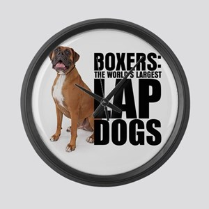 Boxer Lap Dog - Large Wall Clock