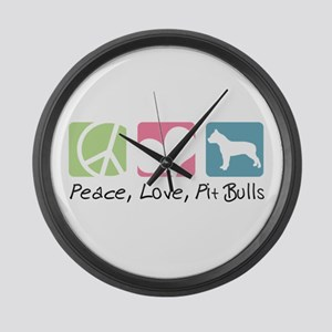 Peace, Love, Pit Bulls Large Wall Clock