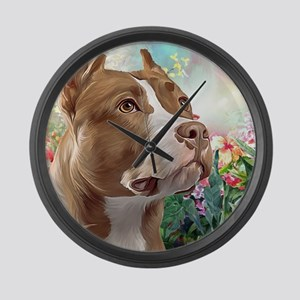 Pit Bull Painting Large Wall Clock