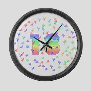 18th Birthday Pastel Stars Large Wall Clock