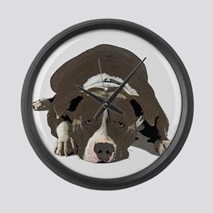 Sleepy Pit Bull look ahead Large Wall Clock
