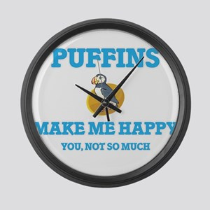 Puffins Make Me Happy Large Wall Clock
