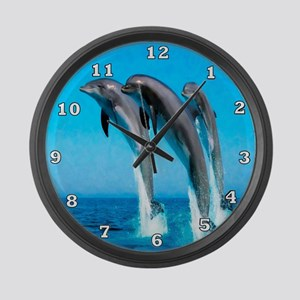 3 Dolphins Large Wall Clock