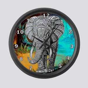 African Elephant Large Wall Clock