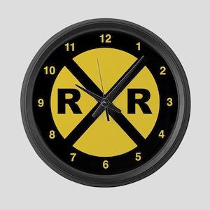 Railroad Crossing Large Wall Clock