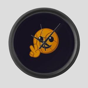 Basketball Peace Emoji Large Wall Clock