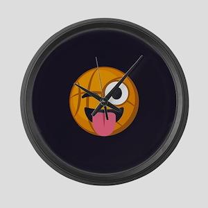 Basketball Tongue Emoji Large Wall Clock