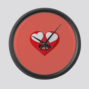 Heart Love Emoji Large Wall Clock