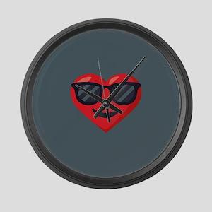 Heart Sunglasses Emoji Large Wall Clock