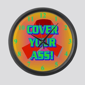 COVER YOUR ASS! Large Wall Clock