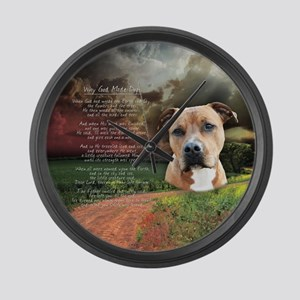 """Why God Made Dogs"" AmStaff Large Wall Clock"
