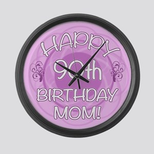 90th Birthday For Mom (Floral) Large Wall Clock