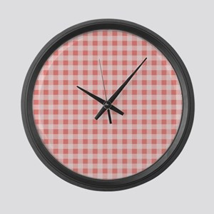 Coral Pink White Gingham Large Wall Clock