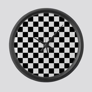 BLACK AND WHITE Checkered Pattern Large Wall Clock