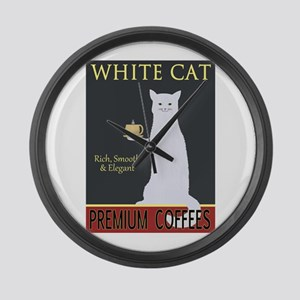 White Cat Coffee Large Wall Clock