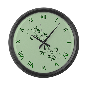 Green Leaves Wall Clock Large Wall Clock