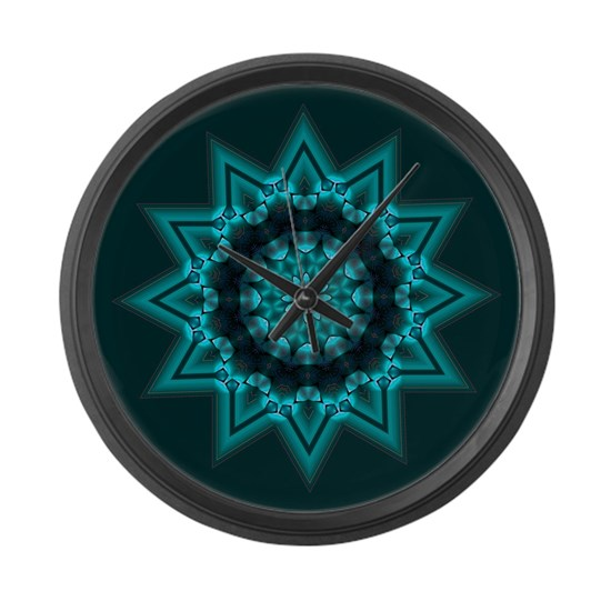 Large Wall Clock Turquoise 12 Pt Star By Graffx Zone Clock