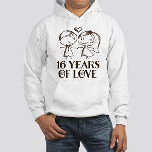 16th Anniversary chalk couple Hooded Sweatshirt