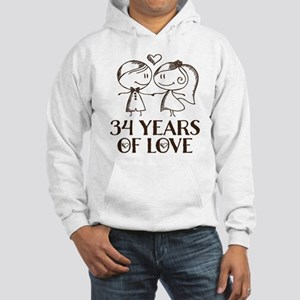 34th Anniversary chalk couple Hooded Sweatshirt