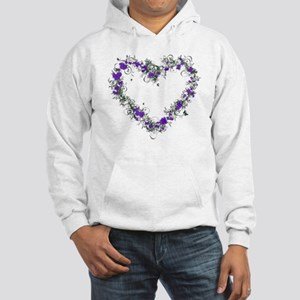 Purple Flower Heart Hooded Sweatshirt