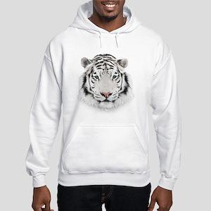 White Tiger Head Hooded Sweatshirt