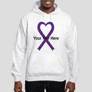 Personalized Purple Ribbon Heart Hooded Sweatshirt