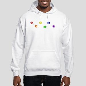 Rainbow paw prints Hooded Sweatshirt