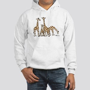 Giraffe Family Portrait in Browns and Beige Hoodie