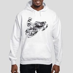 Camoflage Snowmobiler in Grey Hooded Sweatshirt