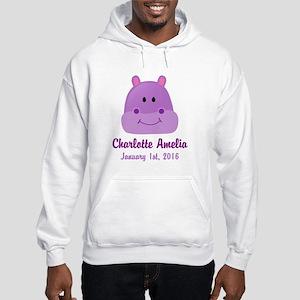 CUSTOM Hippo w/Baby Name and Birthdate Hoodie