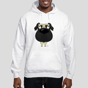 Big Nose Pug Hooded Sweatshirt