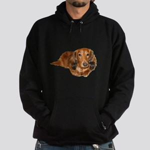 Long Hair Red Dachshund Hoodie (dark)