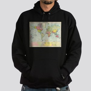 Vintage Political Map of The World ( Hoodie (dark)