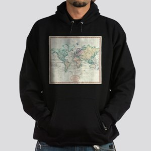 Vintage Map of The World (1801) Hoodie (dark)