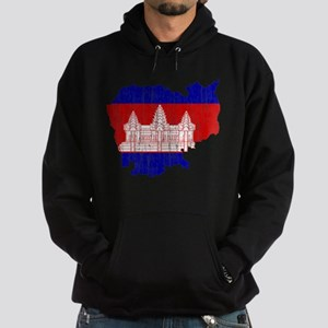 Cambodia Flag And Map Hoodie (dark)