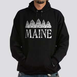 Maine Winter Evergreens Hoodie (dark)