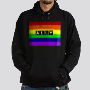 ALLY gay rainbow art Hoodie (dark)