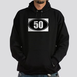 50 mile black oval sticker decal Hoodie (dark)