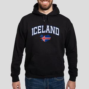 Iceland Map English Hoodie (dark)